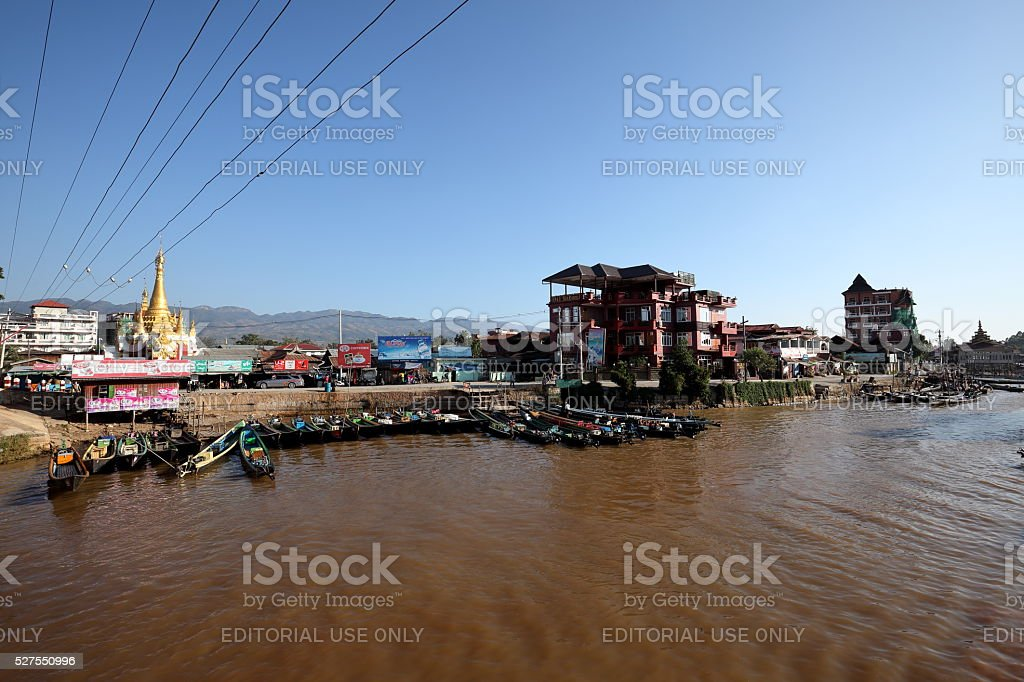 The Port of Nyaung Shwe Inle Lake in Myanmar stock photo