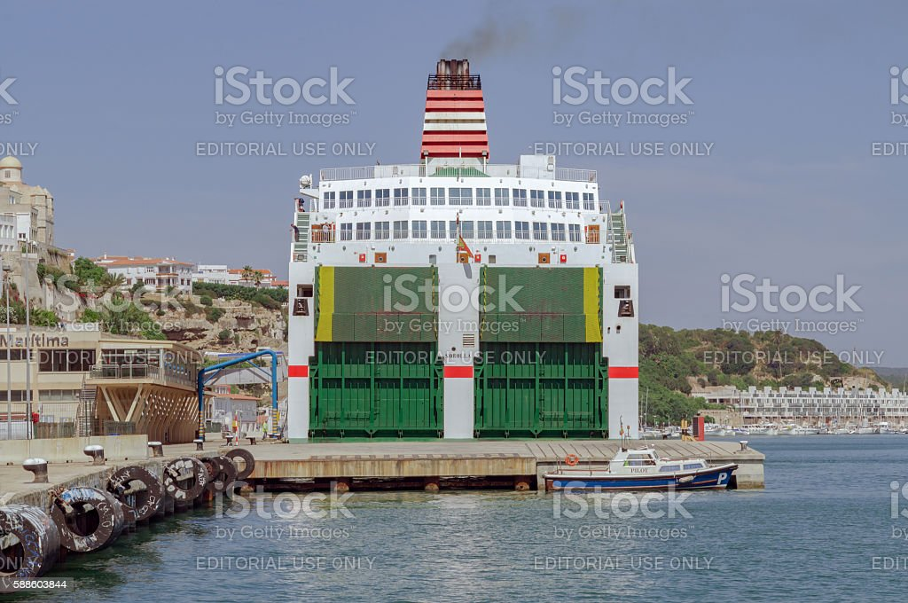 The port of the Menorcan capital of Mahon in spain. stock photo