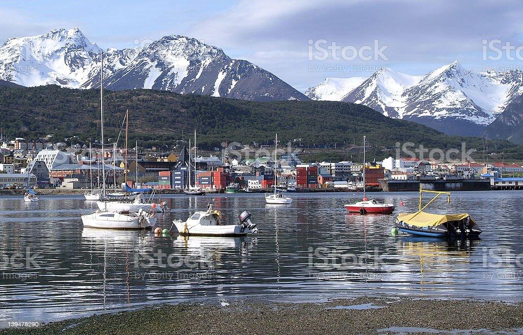 The port of Ushuaia stock photo