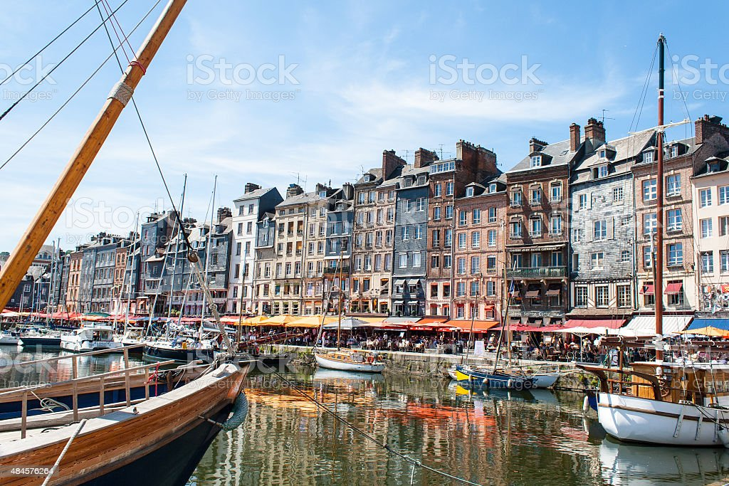 the port town of Honfleur in France stock photo
