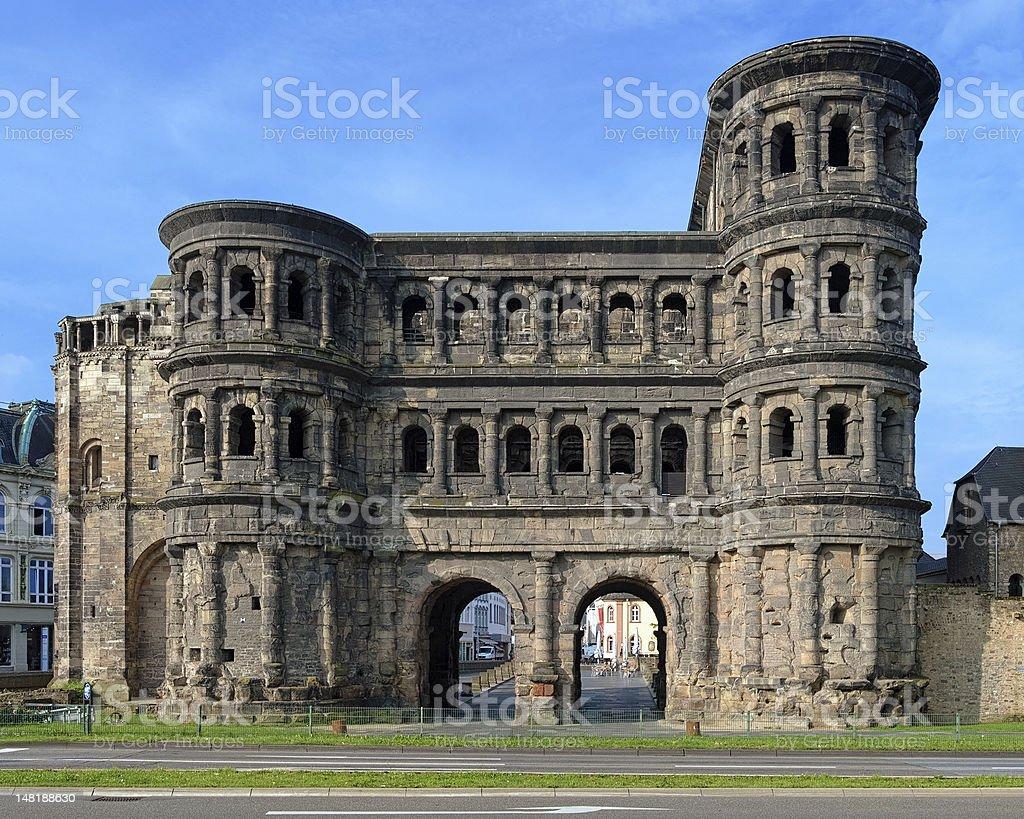 The Porta Nigra (Black Gate) in Trier, Germany stock photo