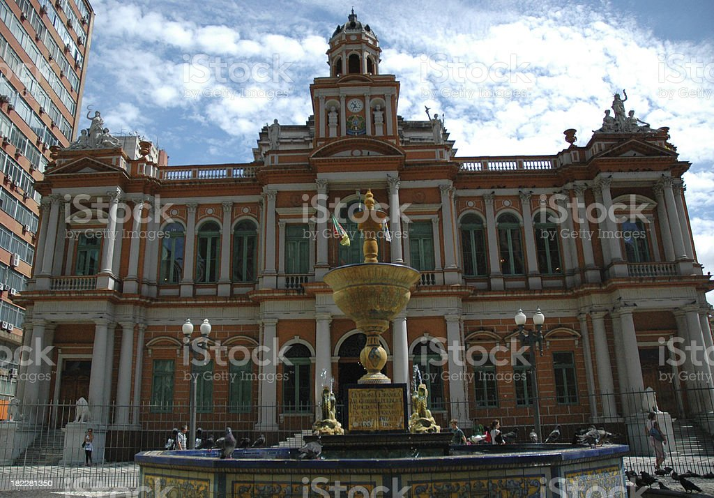 The Porto Alegre City Hall in Brazil stock photo