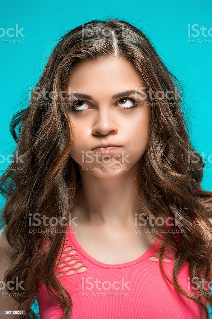 The portrait of disgusted woman stock photo