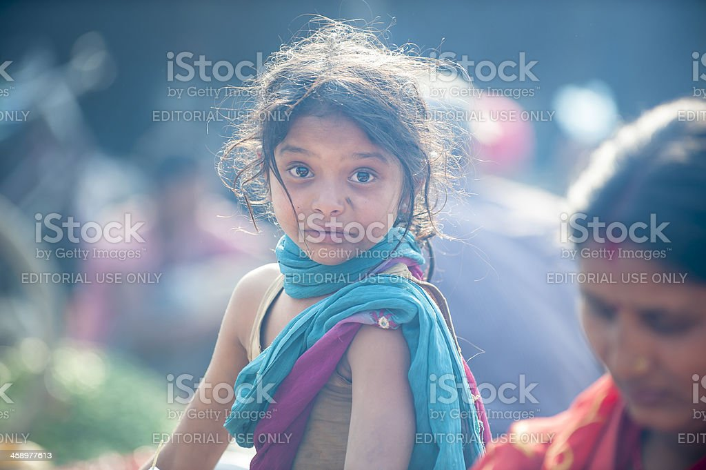 The portrait of Nepalese girl stock photo