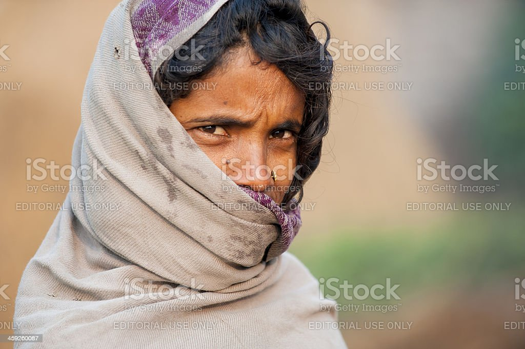 The portrait of Nepalese woman stock photo
