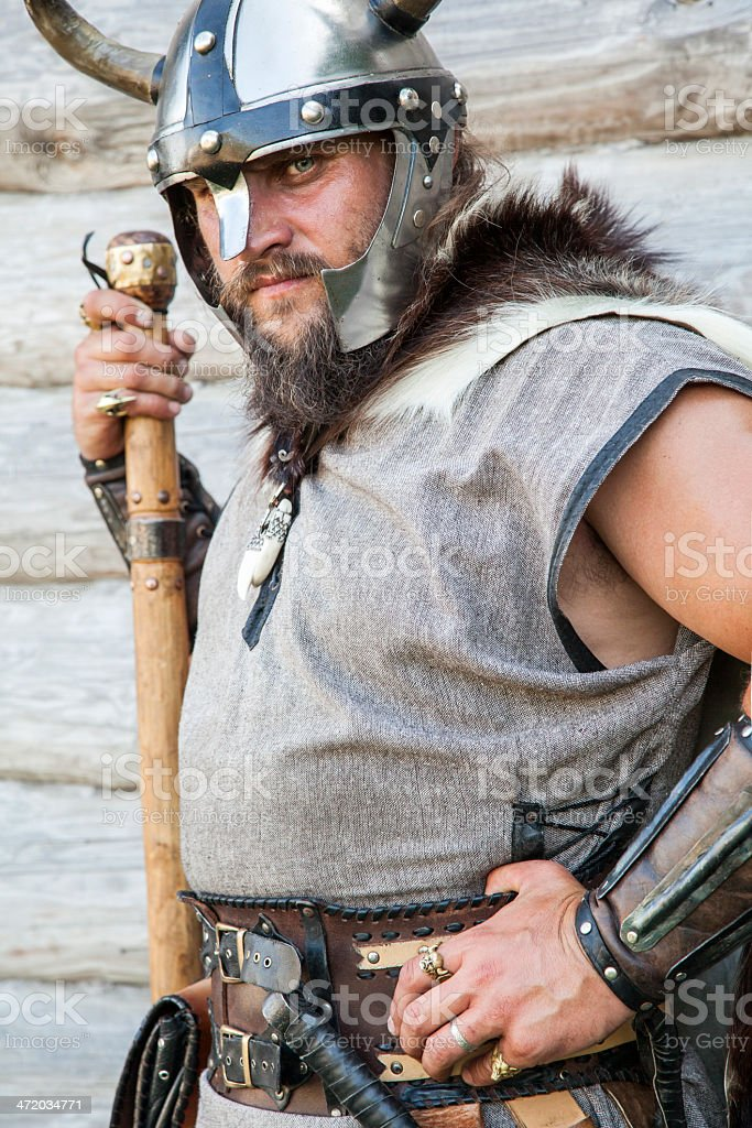 The portrait of Viking with his ax stock photo