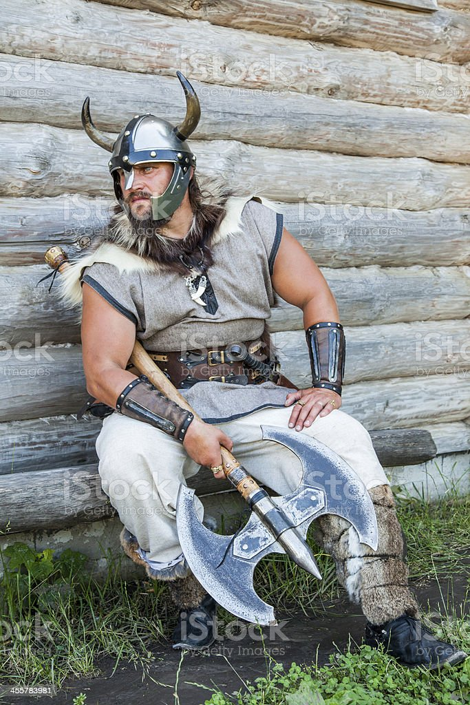 The portrait of Viking with his axe stock photo
