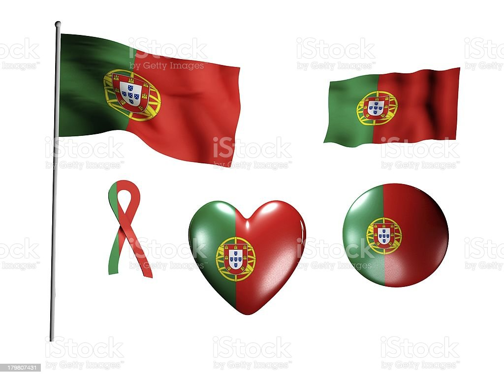The Portugal flag - set of icons and flags royalty-free stock photo