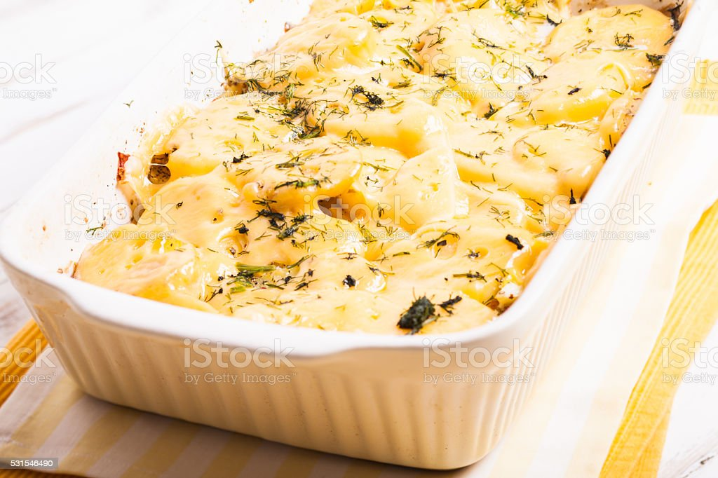 The potato casserole stock photo