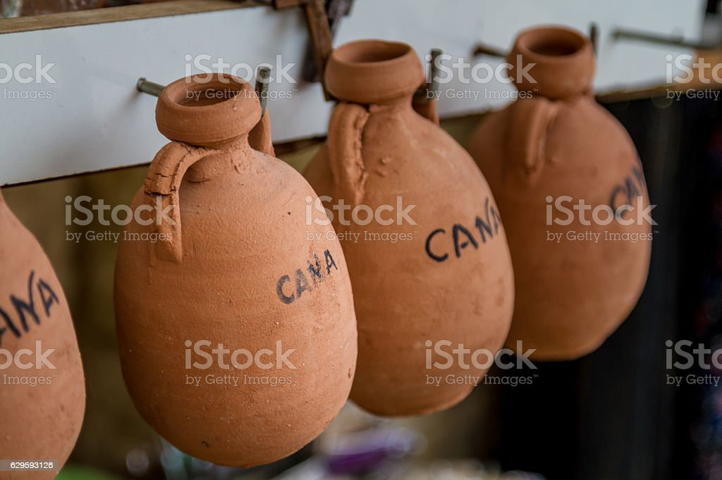 The pottery wine jugs in Cana of Galilee, Israel stock photo