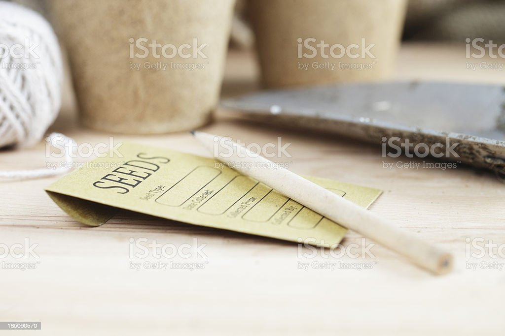 The Potting Shed - Seed Packet and Pots stock photo
