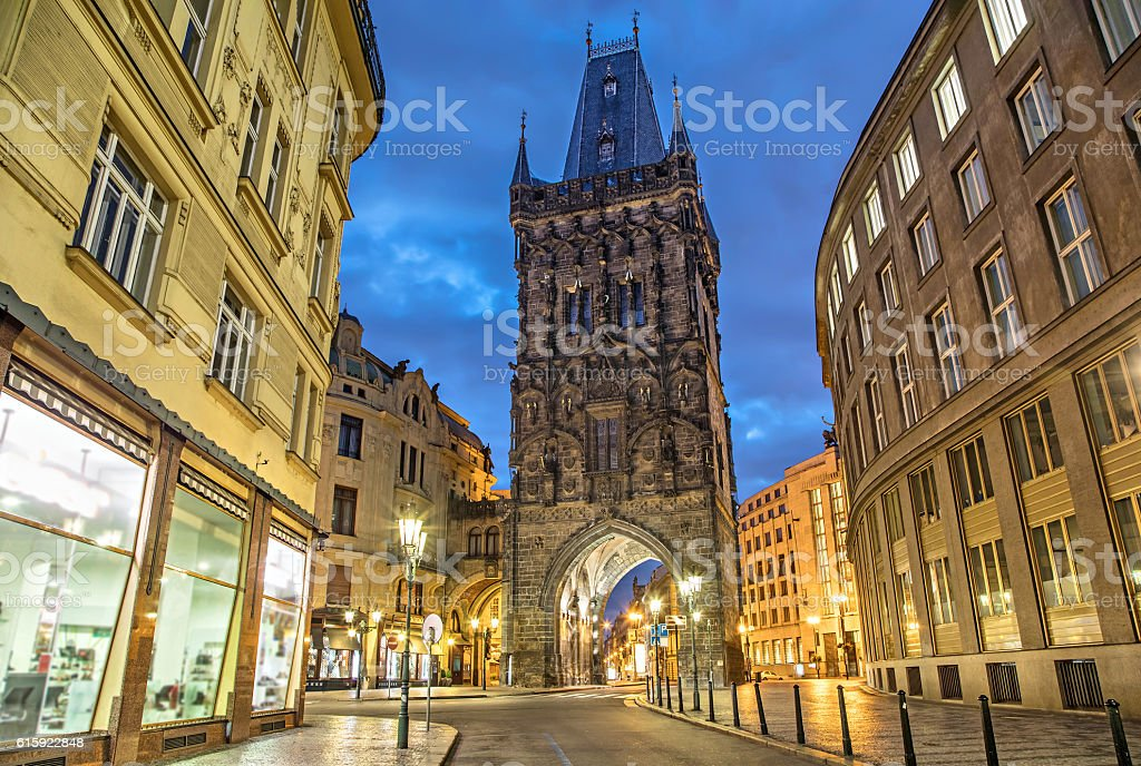 The Powder Tower - medieval gothic city gate in Prague stock photo