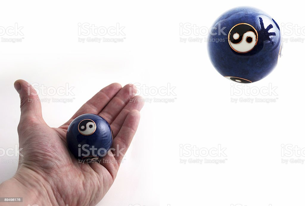 The Power Of Believe-Ball In Levitation stock photo