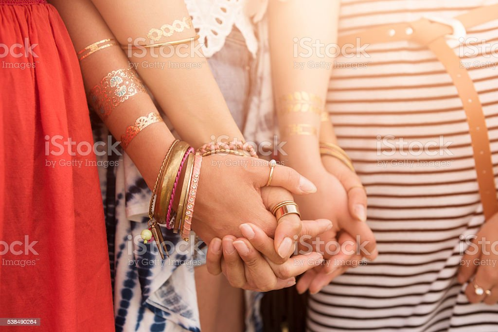 The power of friendship among girls stock photo