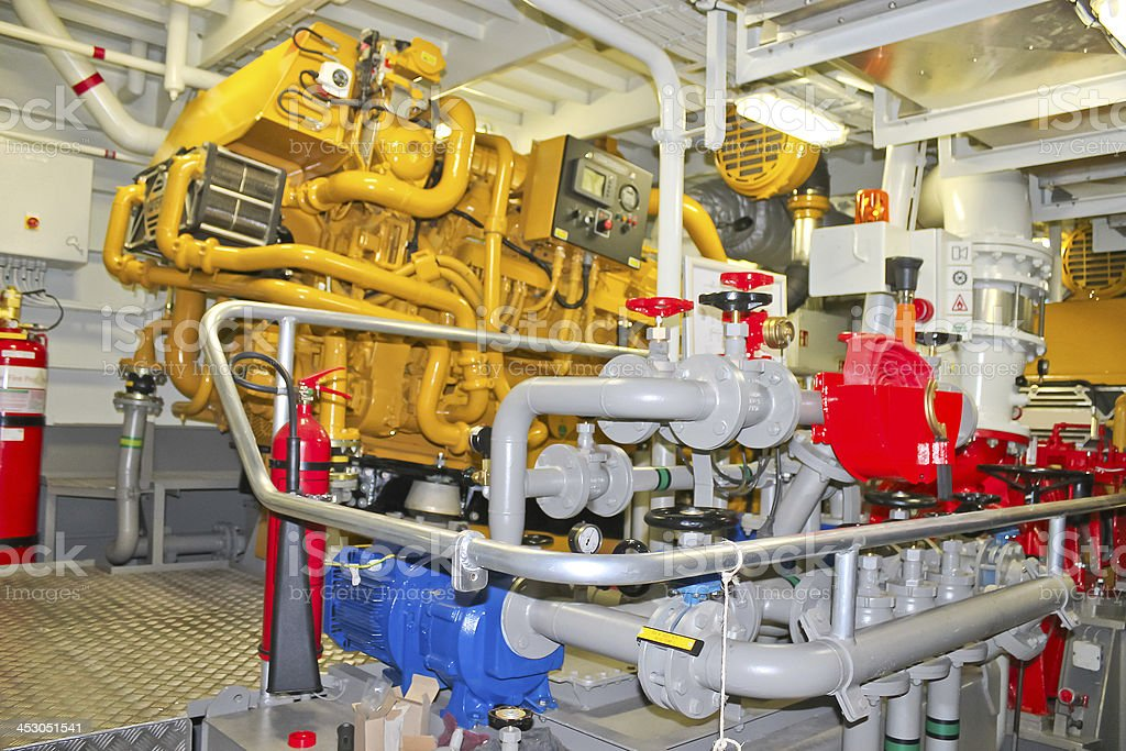 The power plant in  ship's engine room royalty-free stock photo