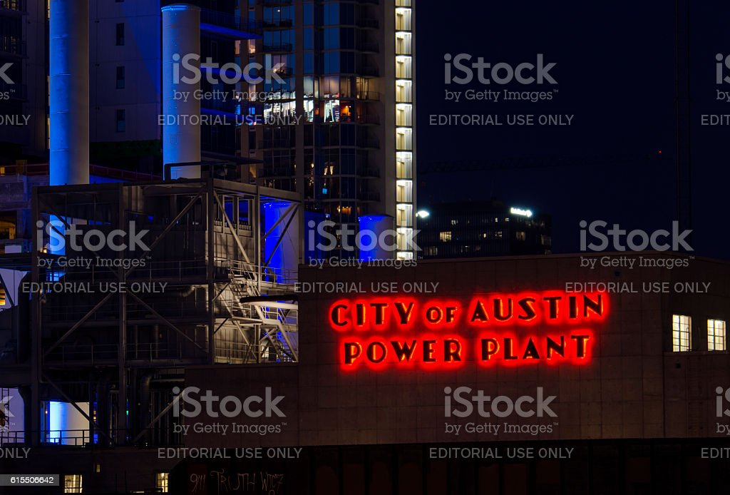 The power plant of city of Austin stock photo
