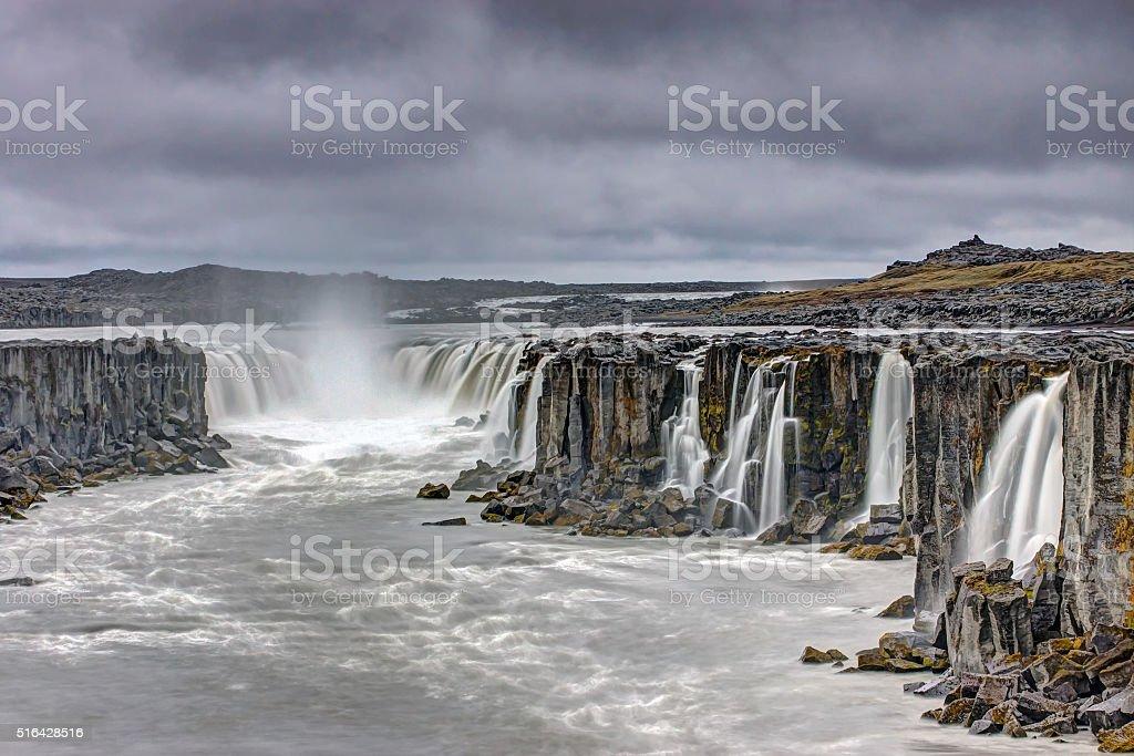 The powerful Selfoss waterfall stock photo