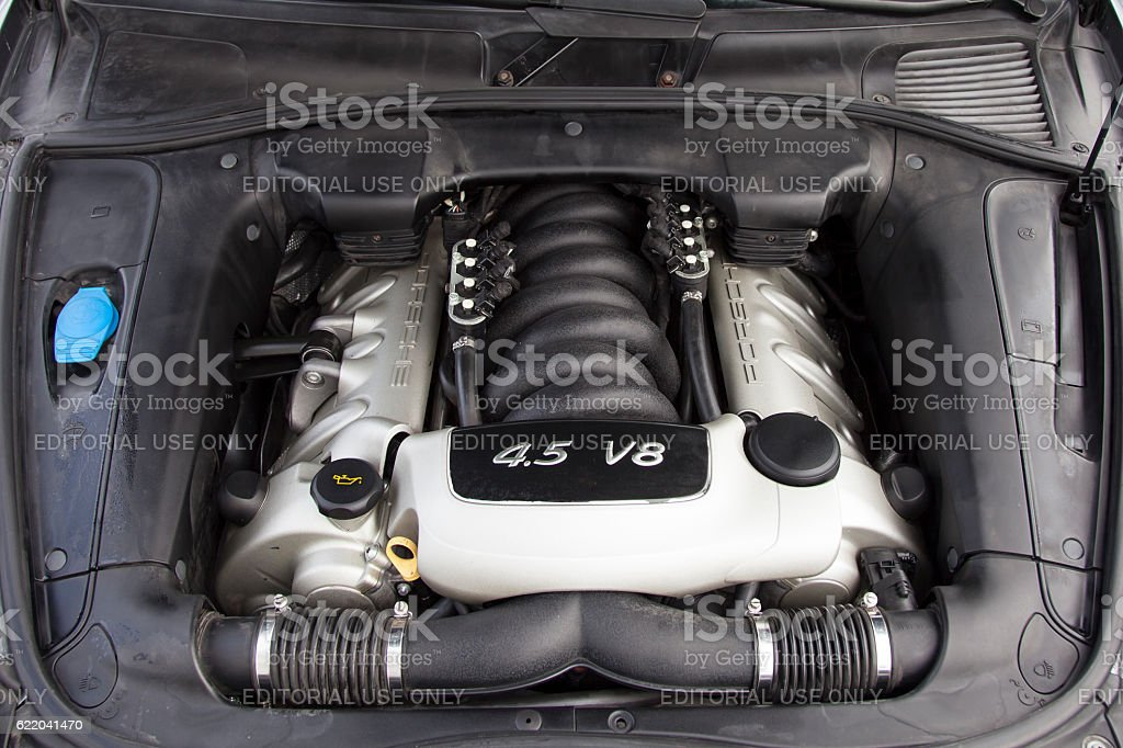 The powerful V8 engine stock photo
