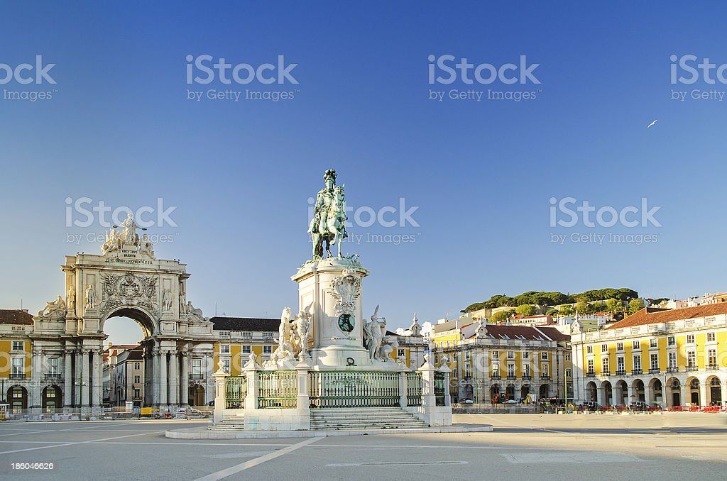 The 'praca do comercio square' located in Lisbon, Portugal stock photo