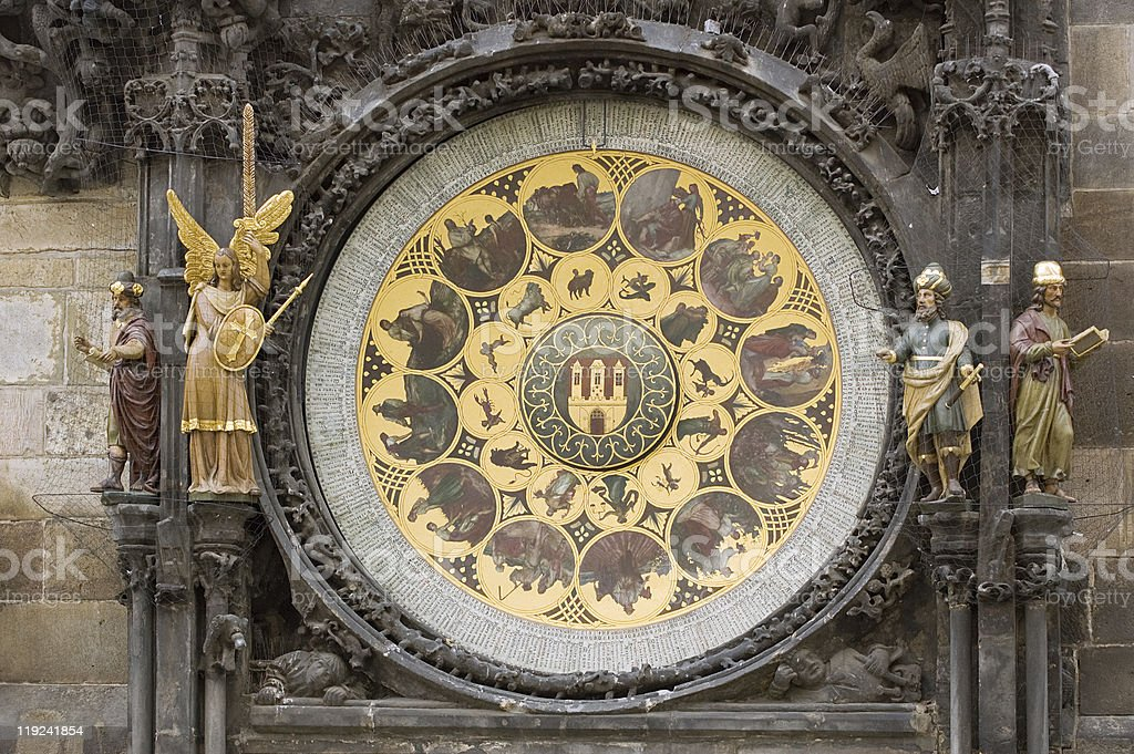 The Prague Astronomical Clock,calendar royalty-free stock photo