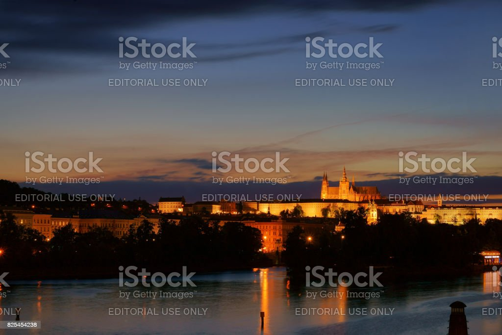 The Prague castle during the twiglight stock photo