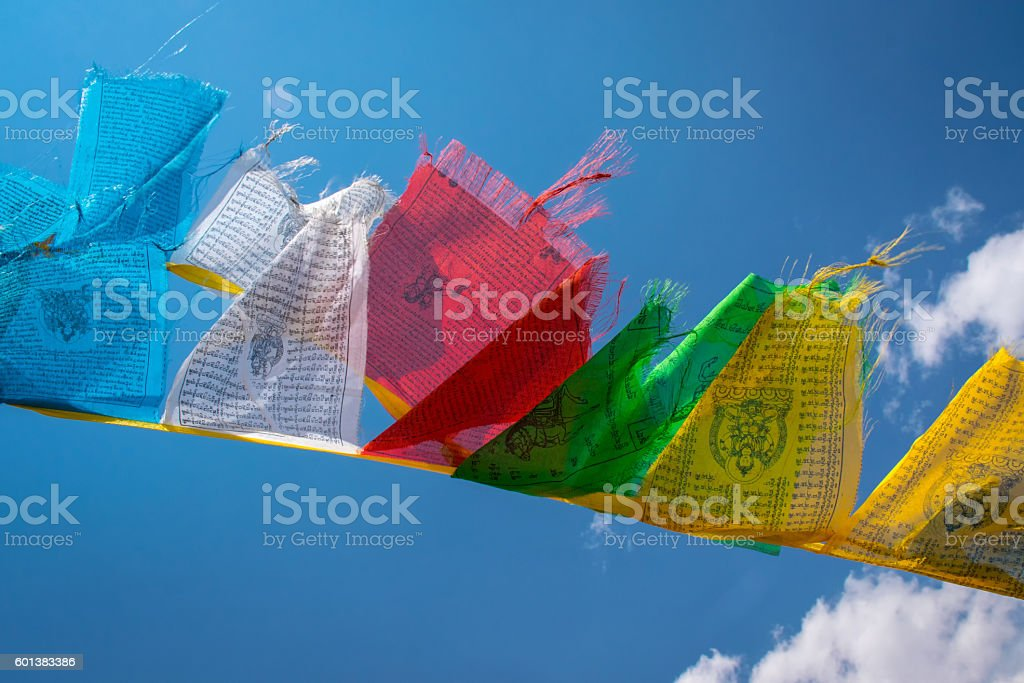 The prayer flags fluttering in the wind, Tibet stock photo