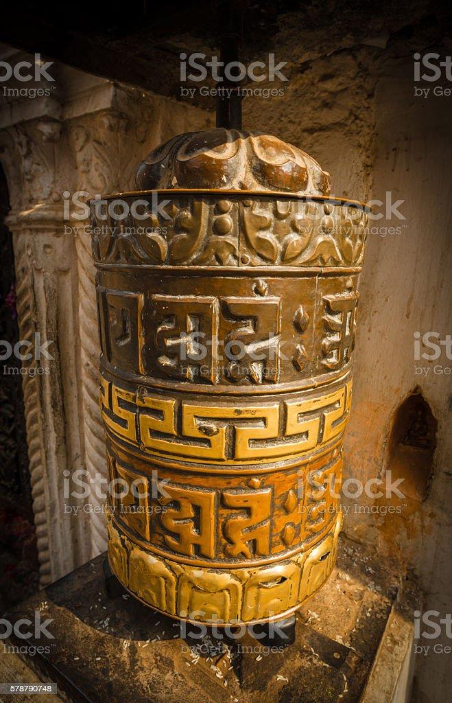 The prayer wheel of mantra Buddhism. stock photo