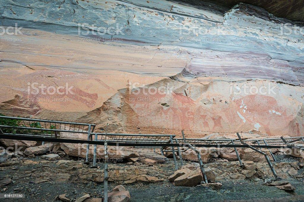 The prehistoric art painting of Pha Taem National Park. stock photo