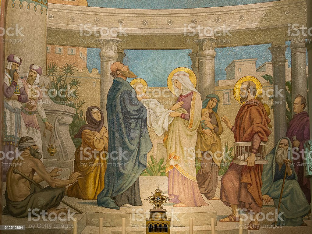 The presentation of Jesus in the Temple stock photo