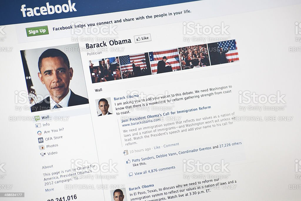 The President Barack Obama Page on Facebook.com stock photo