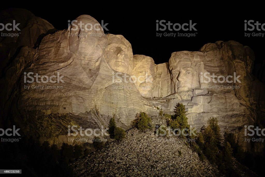 The Presidents at Mount Rushmore in South Dakota at night royalty-free stock photo