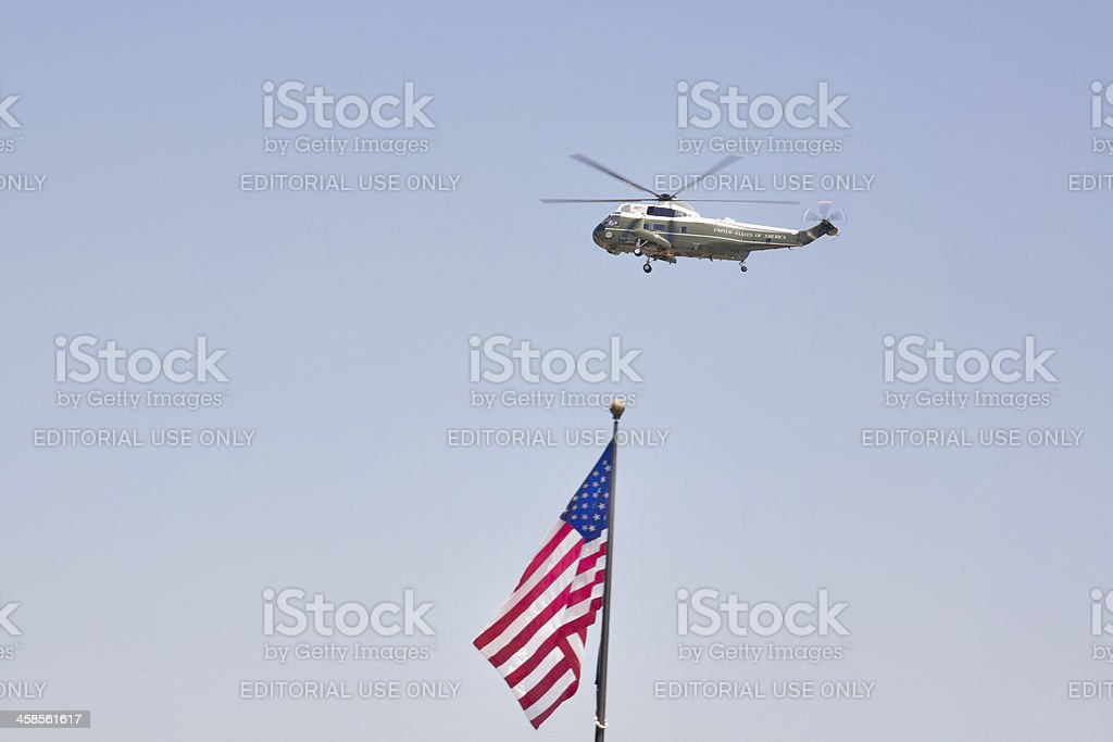 The President's Marine One Sikorsky Helicopter Flying Over US Flag stock photo
