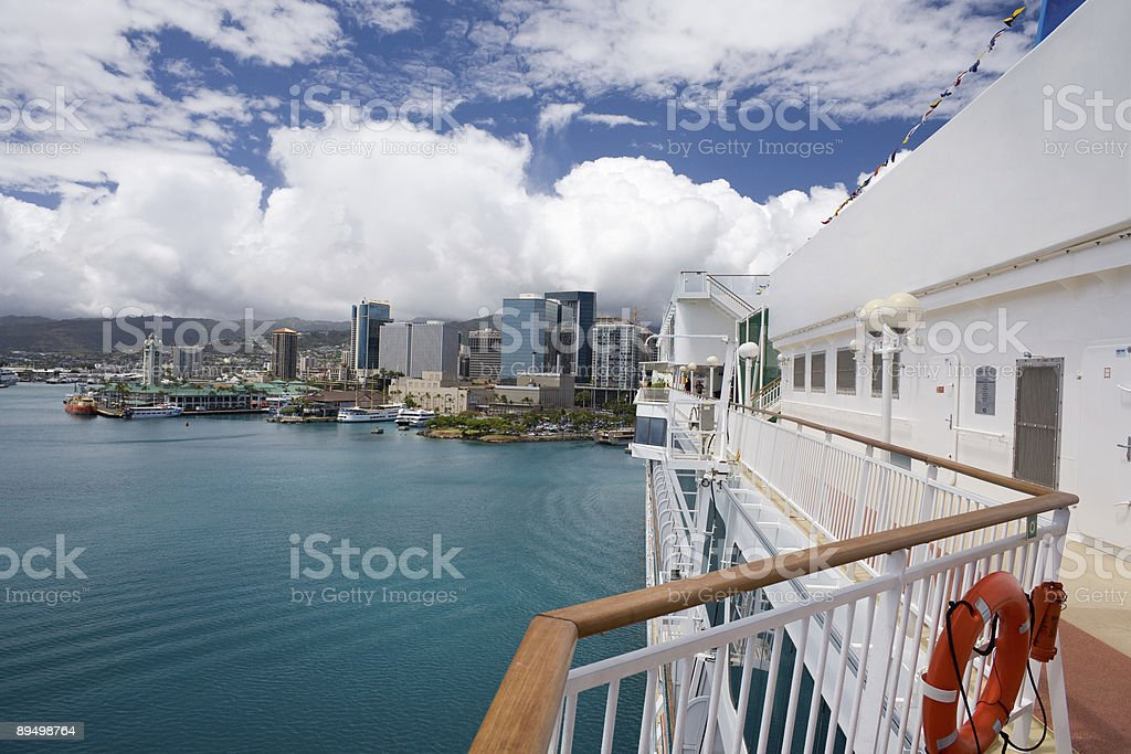 The Pride of Hawaii in Honolulu Harbor royalty-free stock photo