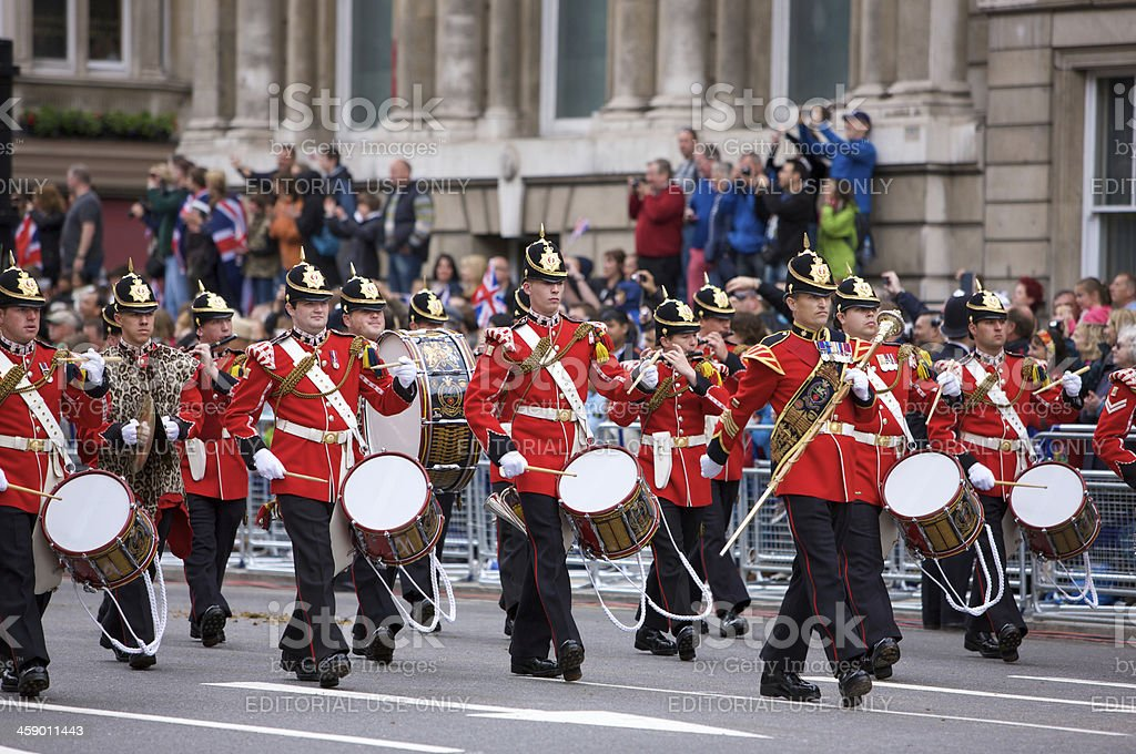 The Princess of Wales Regiment at Queen's Diamond Jubilee procession royalty-free stock photo