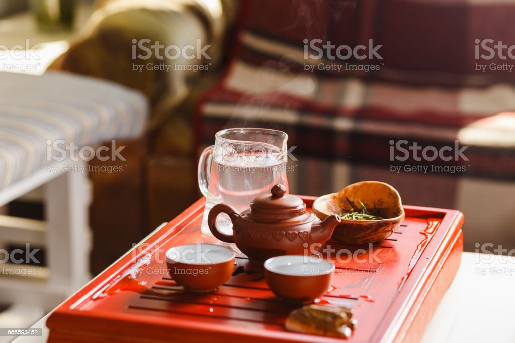 The process of brewing tea at the tea ceremony. stock photo