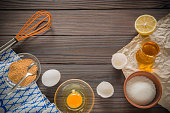 The process of making homemade mayonnaise. Eggs, oil, and other