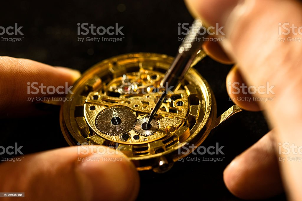 The process of repair mechanical watches stock photo