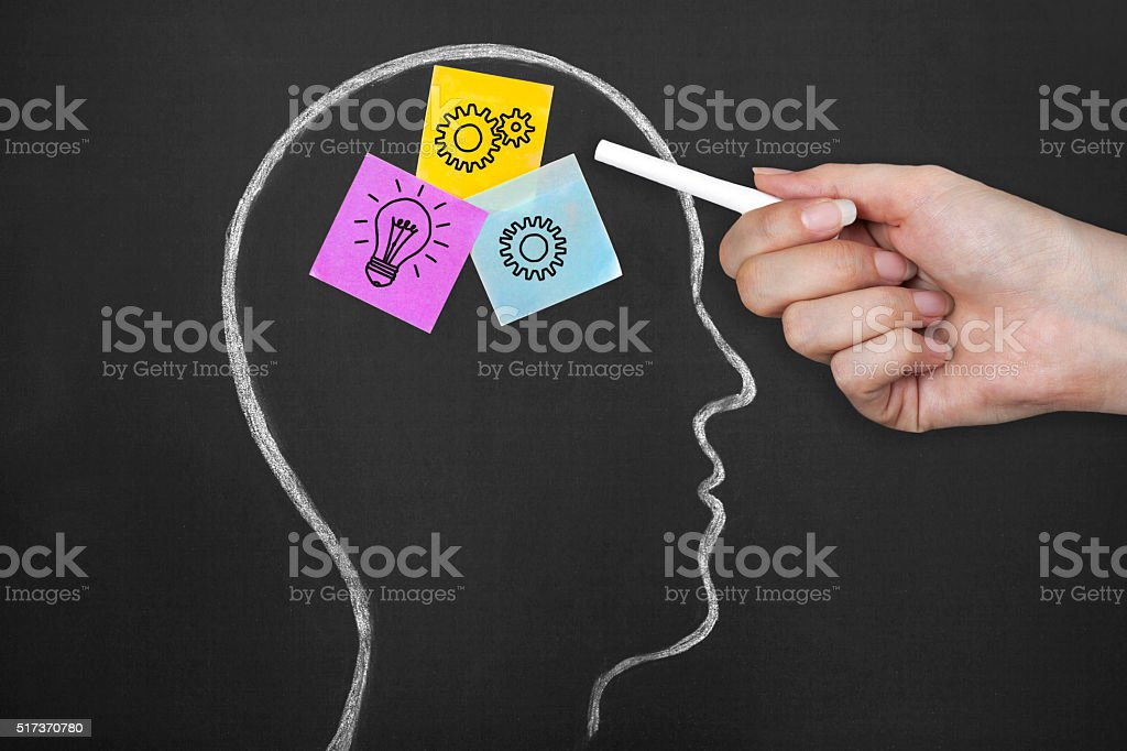 The processes in the brain for new idea. stock photo