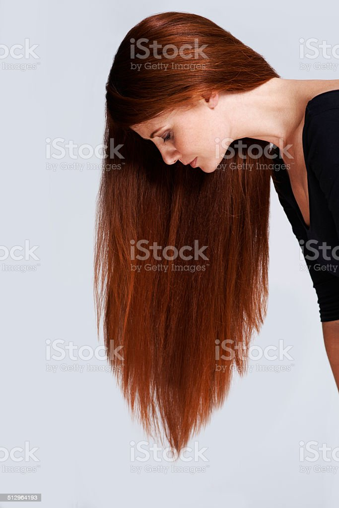 The profile of healthy hair stock photo