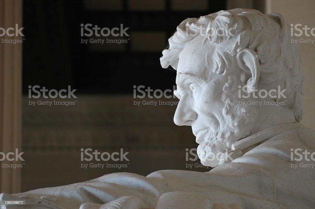 The profile of the Lincoln statue stock photo