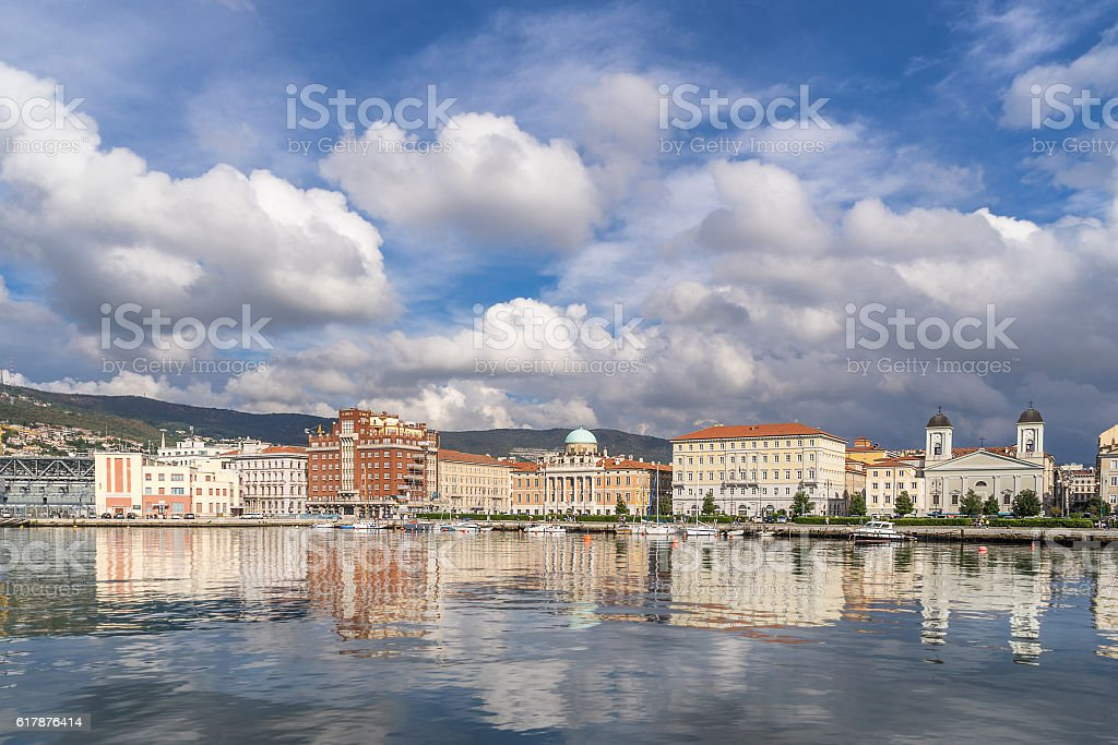 The promenade on Trieste waterfront stock photo