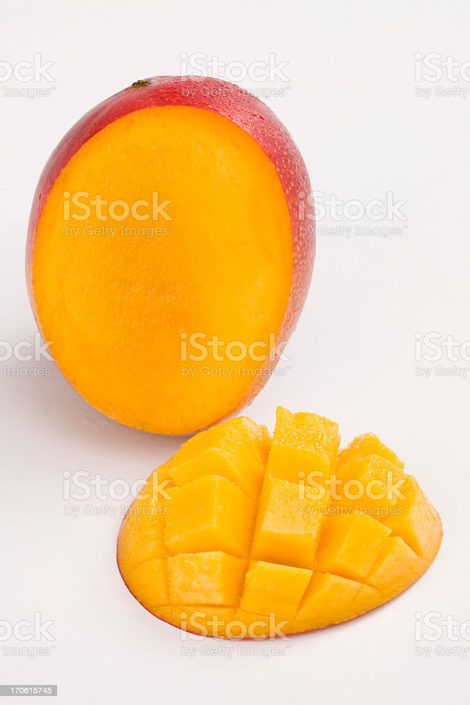 The proper way to slice a mango stock photo