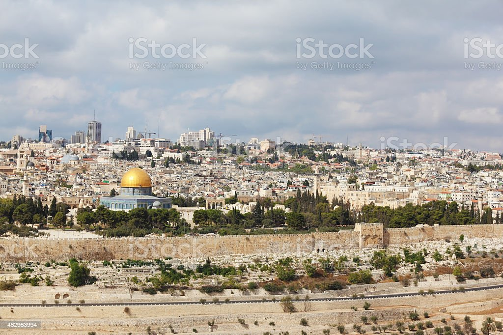 The protective wall of Jerusalem and  walled 'Golden Gate' stock photo