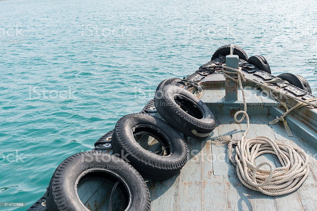 The prow in the sea in the day. Top view stock photo