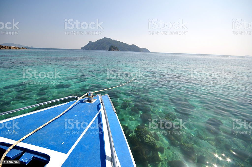 the prow of a ship and sea stock photo