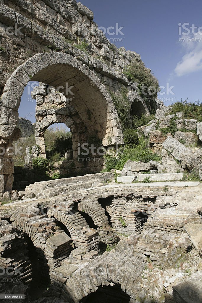 The public baths(Roman)of Perge royalty-free stock photo