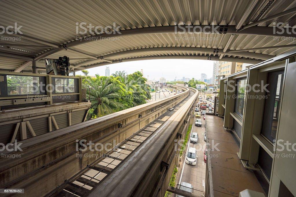The public using light rail transit service in Kuala Lumpur stock photo