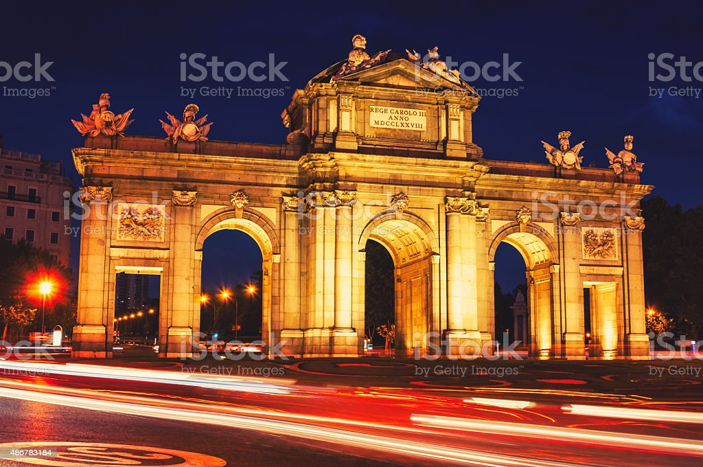 The Puerta de Alcala at night in Madrid stock photo