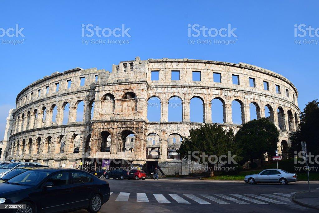 The Pula Ampitheater stock photo