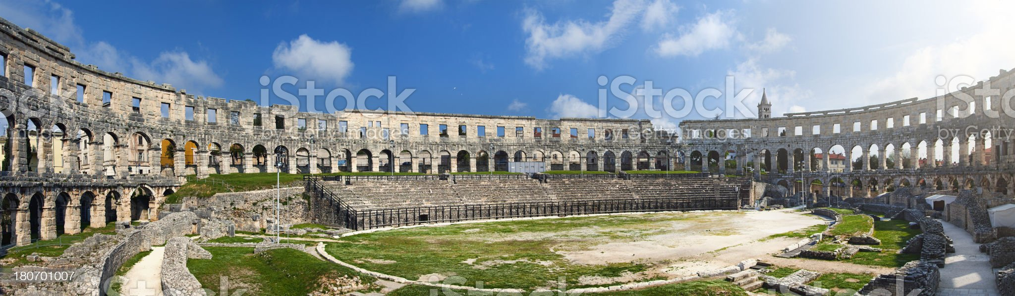 The Pula Arena panoramic shot royalty-free stock photo